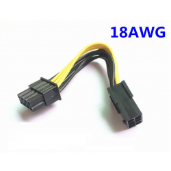 Adaptateur PCIE 6pins vers PCIE 8pins (qualité 18AWG)