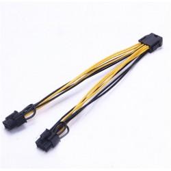 Adaptateur PCIE 6pins vers 2x PCIE 6+2pins (qualité 18AWG)